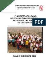 Plan Metropolitano de Educación Comunitaria 2010