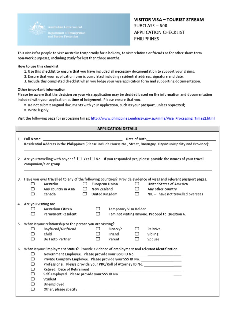 Subclass 600 Tourist Stream Checklist Updated 24 06 2015 Travel