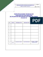Tablas de Datos Técnicos Tableros de Distribución de Prfv Monofasico 15kv