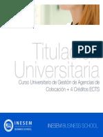Curso Universitario de Gestión de Agencias de Colocación + 4 Créditos ECTS