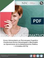 Curso Universitario en Psicoterapia Cognitivo Conductual (Curso Homologado y Baremable en Oposiciones de la Administración Pública + 4 Créditos ECTS)