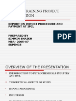 Report on Import Procedure and Payment at Ipcl