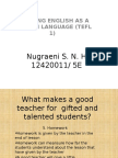 Individual PTEACHING ENGLISH AS A FOREIGN LANGUAGE (TEFL 1)
