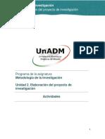 Unidad 2. Elaboracion Del Proyecto de Investigacion_Actividades