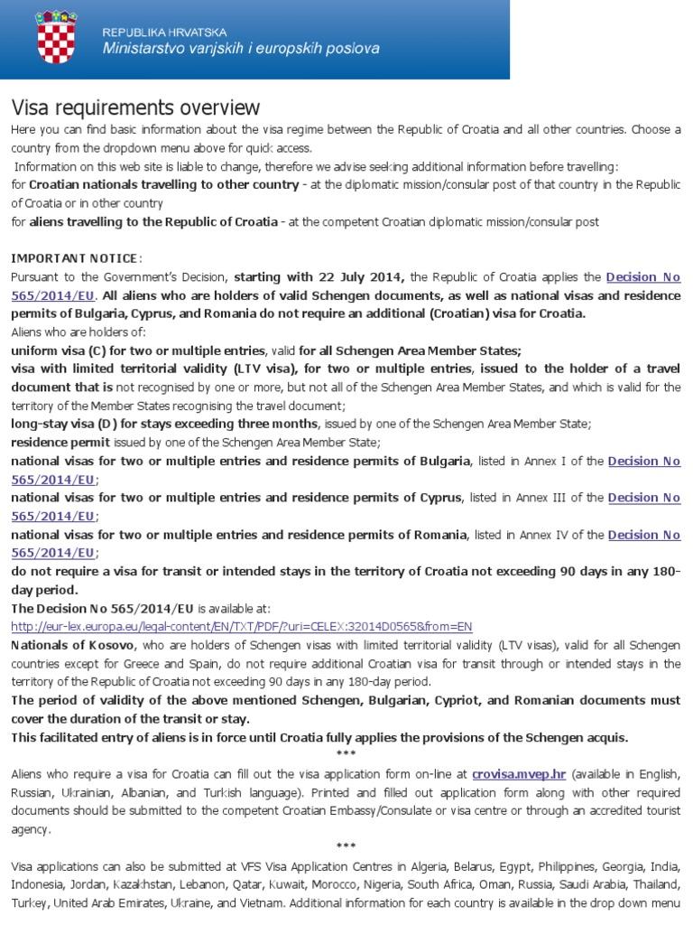 Croatia Visa Requirements Travel Visa Official Documents