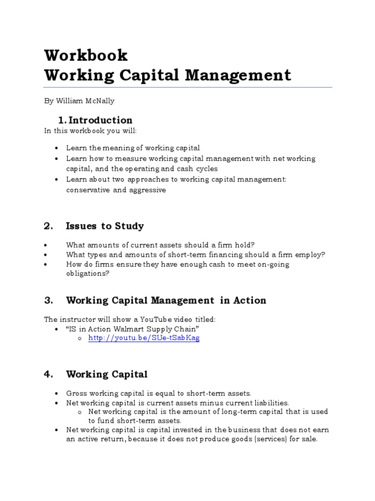 Workbook on Working Capital Management.pdf | Working Capital ...