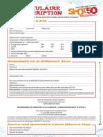 Formulaire Inscription Spot 50
