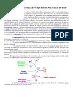 Clasificación de Los Elementos Químicos Por Su Reactividad