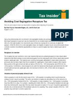 Avoiding Cost Segregation Depreciation Recapture Tax