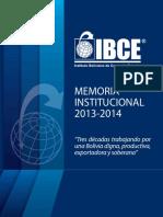 Memoria Institucional IBCE 2013 2014