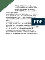 SOLICITUD CONSTANCIA de TRABAJOSeñor Coordinador Administrativo de LaUniversidad