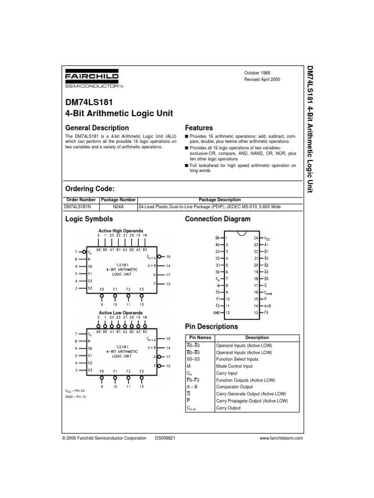 375481 Dspdf Arithmetic Computer Architecture 4 Bit Alu Logic Diagram