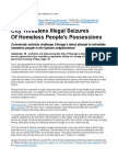 City Threatens Illegal Seizures Of Homeless People's Possessions