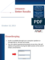 BE Performance Improvement Webinar 2013-10-10 1
