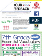 Word Wall Forth Grade Math