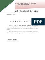 Ojt Certificate