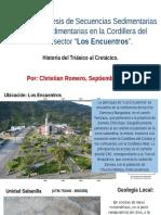 Muy Breve Síntesis de Secuencias Sedimentarias – Volcanosedimentarias en la Cordillera del Cóndor, Christian Romero, Septiembre 2016