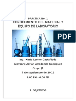 Práctica No. 1 Cononocimiento Del Material y Equipo de Laboratorio