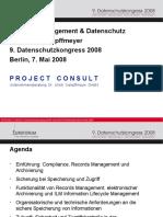 [DE] Records Management & Datenschutz | Dr. Ulrich Kampffmeyer | Datenschutzkongress | 2008