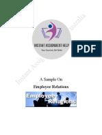 Sample on Employee Relations