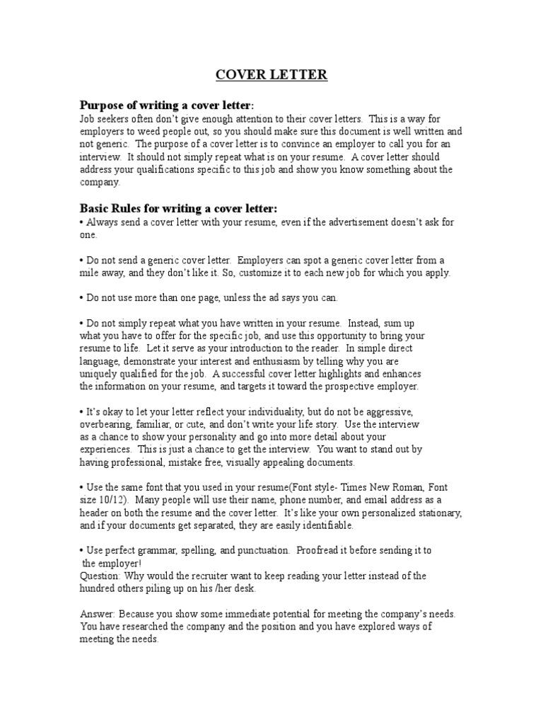 Cover Letter Handout | Résumé | Communication