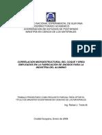 Correlación Microestructural Del Coque y Brea Empleados en La Fabricación de Ánodos Para La Industria Del Aluminio