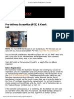 Pre-Delivery Inspection (PDI) & Check List - Team-BHP