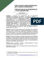 GROSSI, Paolo. La Constitución italiana como expressión de un tiempo jurídico posmoderno