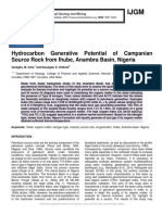 Hydrocarbon Generative Potential of Campanian Source Rock from Ihube, Anambra Basin, Nigeria