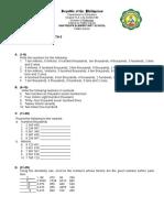 First Summative Test in Math 5