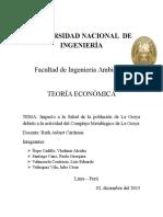 Impacto a La Salud de La Población de La Oroya Debido a La Actividad Del Complejo Metalúrgico de La Oroya