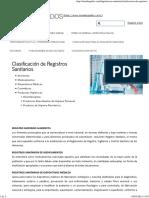 Clasificación de Registros Sanitarios