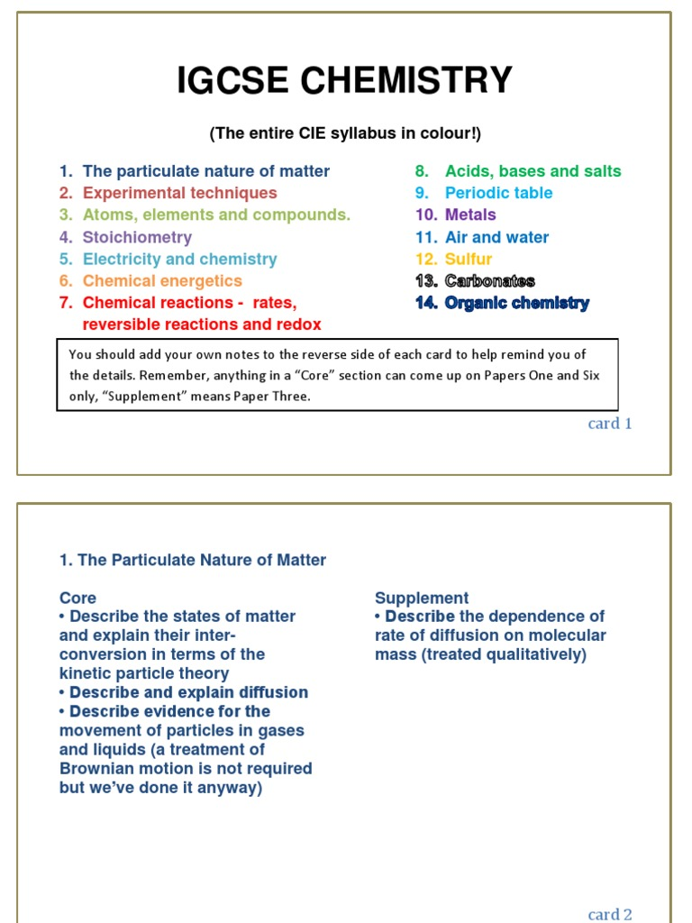Igcse chemistry syllabus in index card a6 format chemical igcse chemistry syllabus in index card a6 format chemical reactions mole unit gamestrikefo Image collections