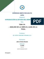 Actividades Analisis Alma de La Toga Introd Derecho