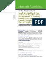 Implementación de una secuencia didáctica en la enseñanza de la lectura y escritura en contextos de estudio en la formación docente inicial.pdf