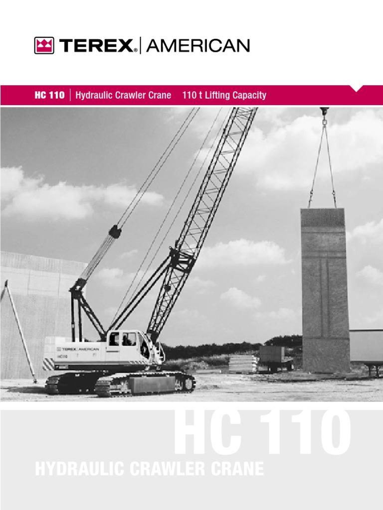 gruas de orugas celosia terex hc110 crane machine mechanical rh scribd com PT110 Terex Terex 110 Forestry