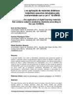 Dificuldades na aplicação de materiais didáticos digitais que trabalham assuntos estudados pela Química em conformidade com a Lei no 10.639/03.