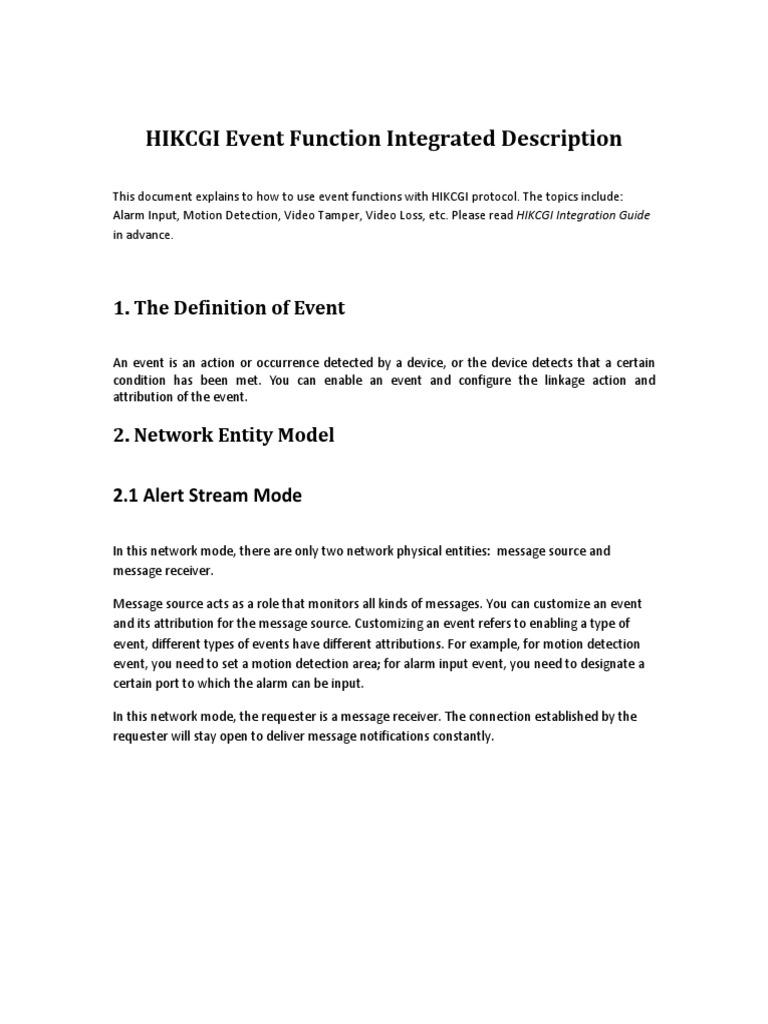 HIKCGI Event Function | Hypertext Transfer Protocol | Port (Computer