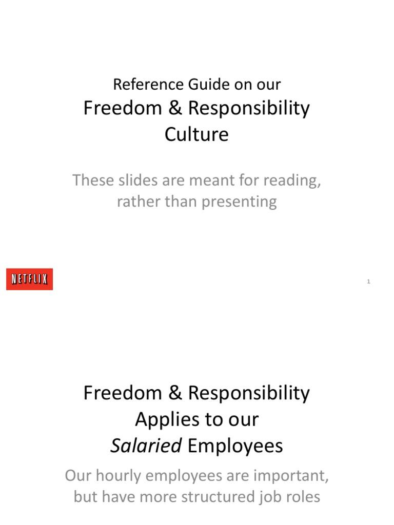 Netflix Freedom and Responsibility Culture Presentation pdf