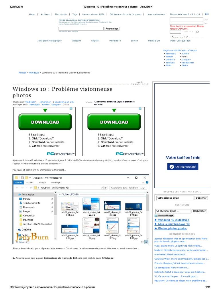 Windows 10 Problème Visionneuse Photos Jenyburn
