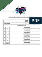 Formulario de inscripcion 3er Torneo de juegos presencial - Convencion Dream Fest 2016