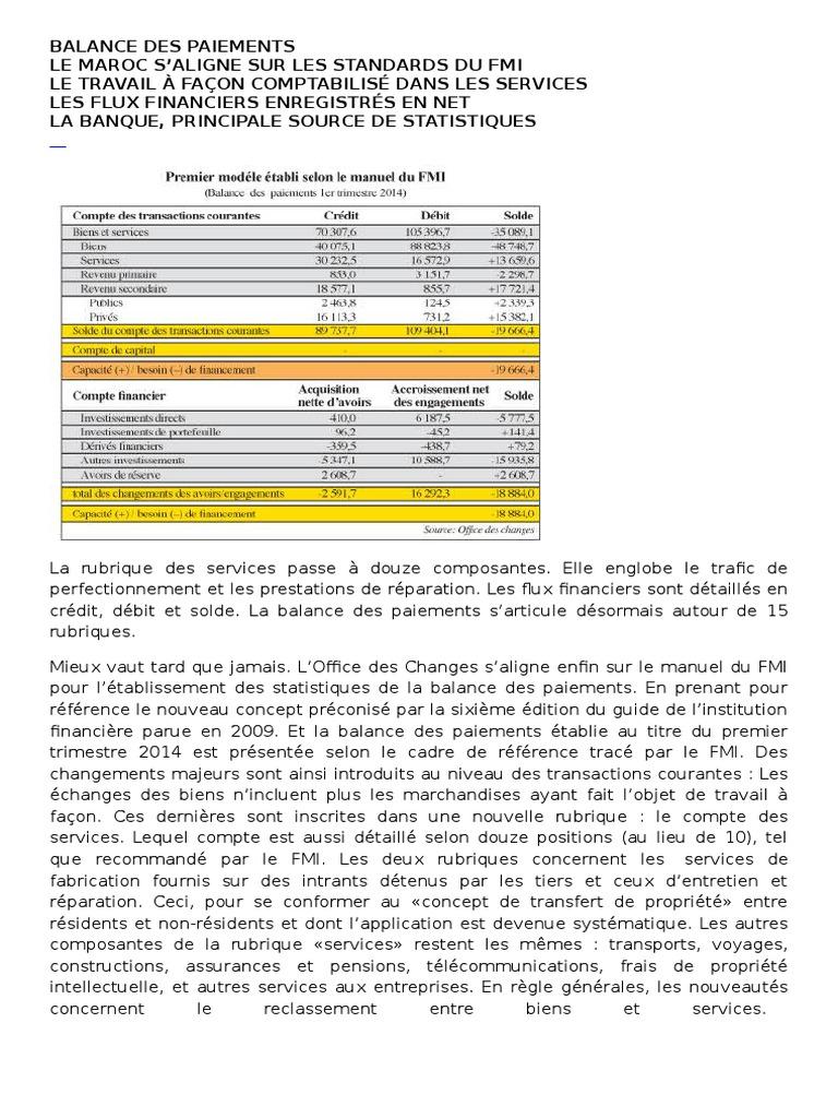 BALANCE DES PAIEMENTS Nouvelle Nomenclature | Balance des ...
