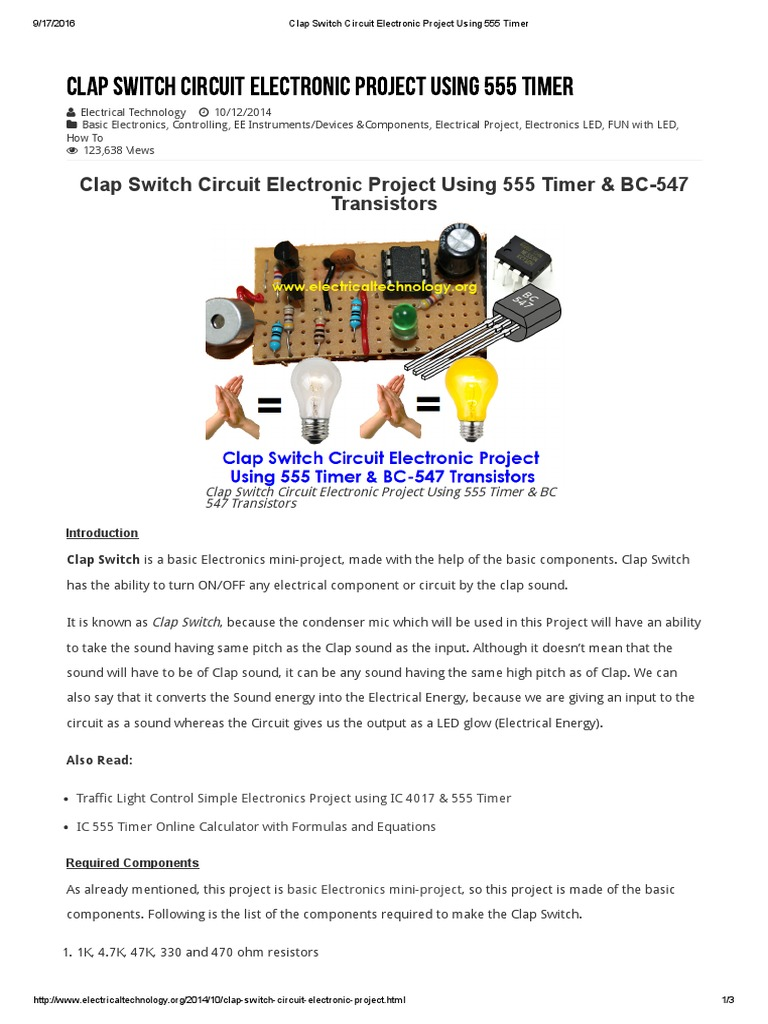 Clap Switch Circuit Electronic Project Using 555 Timer Circuits For Mini Projects Component
