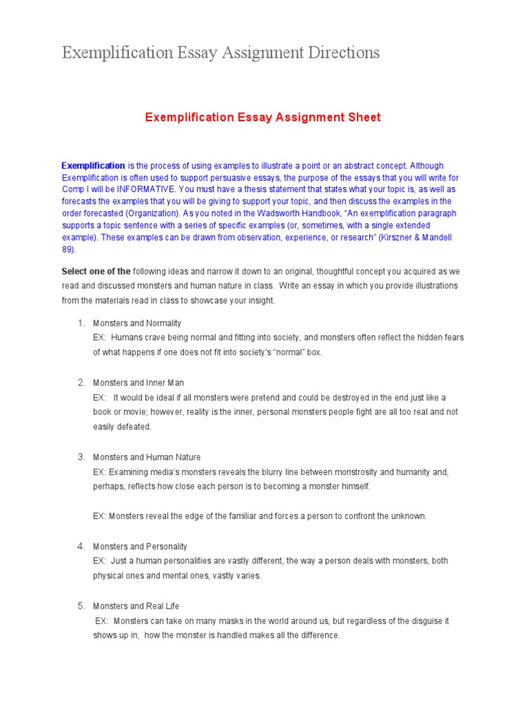 Essay Papers For Sale Exemplification Essay Assignment Directions Essays Thesis V Exemplification  Essay Assignment Directions Essays In Science also Is Psychology A Science Essay How To Write An Exemplification Essay Resume For Security Guard Essays On English Language