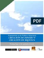 Transmisión en la Política Monetaria. CREACIÓN DE DINERO Y CREACIÓN DE RIQUEZA