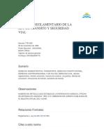 DECRETO REGLAMENTARIO DE LA LEY DE TRANSITO Y SEGURIDAD VIAL