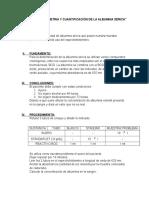 Espectrofotometria y Cuantificación de La Albumina Sérica