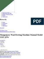 Mongomery Ward Sewing Machine Manual Model UHT J276