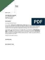 Cover Letter for OJT