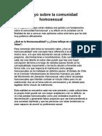 Ensayo Sobre La Comunidad Homosexual
